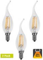 3 Pack- E14 4w Filament Kaarslamp - 2200K Flame - Dimbaar