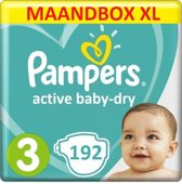 Pampers Active Baby Dry Maat 3 – 192 Luiers Maandbox XL