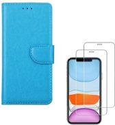 iPhone 11 - Bookcase turquoise - portemonee hoesje + 2X Tempered Glass Screenprotector