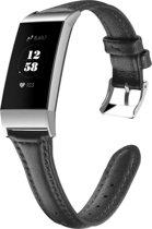 Bandje leer zwart geschikt voor Fitbit Charge 3 - SmartphoneClip