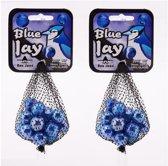 42x Blue Jay knikkers in netjes - Blauwe knikkers - Buitenspeelgoed voor kinderen