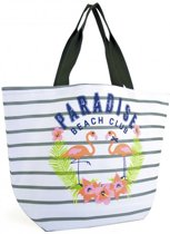 Luna Cove FLAMINGO Strandtas Shopper Grijs Gestreept Trendy