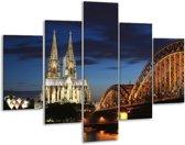 Glasschilderij Steden | Blauw, Geel, Wit | 100x70cm 5Luik | Foto print op Glas |  F002683