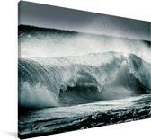 Donker beeld van een wilde Zee Canvas 120x80 cm - Foto print op Canvas schilderij (Wanddecoratie woonkamer / slaapkamer)
