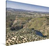 Luchtfoto van het Nationaal park Monfragüe in Spanje Canvas 180x120 cm - Foto print op Canvas schilderij (Wanddecoratie woonkamer / slaapkamer) XXL / Groot formaat!