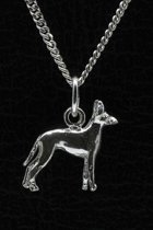 Zilveren Black and tan toy terrier ketting hanger - klein