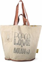 Mycha Ibiza - tas - Talamanca Peace Love & Avocado 1037 - strandtas - shopper - clutch - lederen hengsels