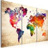 Schilderij - Wereldkaart , Wereld in Waterverf , 3 luik