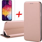 Samsung Galaxy A30s Hoesje + Screenprotector Case Friendly - Book Case Flip Wallet - iCall - Roségoud