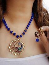 Vergulde ketting met pauw kralen voor dames - Blauw
