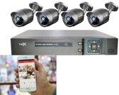 CCTV DVR Kit 1080P Beveiligingscamera Plug en Play camerasysteem - 4 camera's ZWART