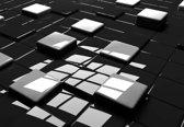 Fotobehang Modern Abstract Squares Black White | M - 104cm x 70.5cm | 130g/m2 Vlies