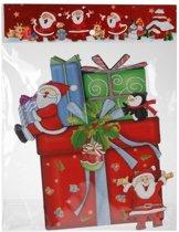 Kerst decoratie raamstickers 3D cadeautje 25 x 34 cm