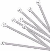 50x Kabelbinders / hersluitbaar tie-wraps 200 x 7.6 mm - witte ribs