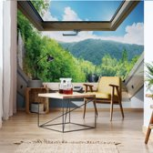 Fotobehang Waterfall Forest 3D Skylight Window View | V4 - 254cm x 184cm | 130gr/m2 Vlies