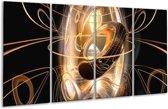 Glasschilderij Abstract   Zwart, Wit, Goud   160x80cm 4Luik   Foto print op Glas    F000459