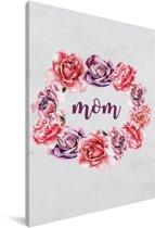 Mooi cadeau voor moeder met bloemenprint en tekst - Mom Canvas 80x120 cm