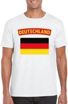 Duitsland t-shirt met Duitse vlag wit heren S