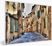 Foto in lijst - Steegje in het Italiaanse Montepulciano fotolijst wit 40x30 cm - Poster in lijst (Wanddecoratie woonkamer / slaapkamer)