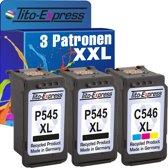 PlatinumSerie® Spaarset 3 patroon XXL alternatief voor Canon PG-545XL & CL-546XL