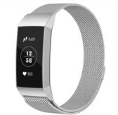 Milanese Loop Armband Voor Fitbit Charge 3 Horloge Band Strap - Milanees Armband Polsband - Zilver Kleurig