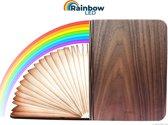 Rainbow LED Boeklamp - Boek lamp - 7 kleuren LED - Opvouwbaar - Accu 22+ branduren - Hogere Helderheid - Tafellamp, sfeerlamp, nachtlamp en leeslamp - Premium Donker Houten Kaft - Large 21.5 x 17 cm