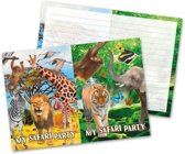 8x Safari/jungle themafeest uitnodigingen 27 cm.