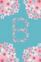 B Monogram Letter B Cherry Blossoms Journal Notebook