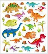 Dinosaurus stickervel met gekleurde dino stickers