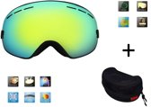 Ski bril + hard case lens Smoke Gold frame Zwart F type 4 Cat. 0 tot 4 - ☀/☁ extra lens is optie.