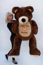 Grote teddebeer / knuffelbeer 155cm - I love you - Bruin