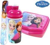 Frozen Broodtrommel + drinkfles + klaparmband   Lunchbox set 2 stuks voor meisjes LS15
