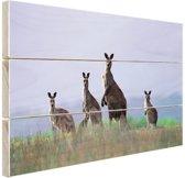 Kangoeroefamilie Hout 30x20 cm - klein - Foto print op Hout (Wanddecoratie)