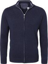 Casa Moda heren vest katoen - marine blauw (met rits) -  Maat XL