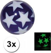 3 stuiterballen glow in the dark sterren