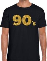 90's gouden glitter tekst t-shirt zwart heren - Jaren 90 kleding L