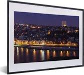 Foto in lijst - Panorama van Istanbul in de avond fotolijst zwart met witte passe-partout klein 40x30 cm - Poster in lijst (Wanddecoratie woonkamer / slaapkamer)
