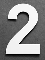 Xaptovi Huisnummer 2 Materiaal: RVS - Hoogte: 25cm - Kleur: Wit