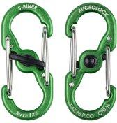 s-biner metalen karabijnhaakjes met lock, per 2, licht groen