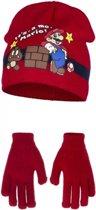 Rode Its Mario winterset voor kinderen 52 cm - Super Mario Muts en Handschoenen