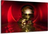 Canvas schilderij Abstract   Goud, Rood, Wit   140x90cm 1Luik