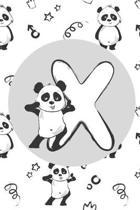 X: Initial X Monogram Notebook Journal Gift Cute Panda character design