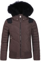 Luhta Winterjack/Ski Jack Bigga - Dames - Capuchon - Brede tailleband - Bruin/Zwart - Maat 36