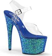 EU 38 = US 8   ADORE-708LG   7 Heel, 2 3/4 PF Ankle Strap Sandal w/ Holo Glitter Bottom