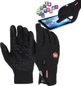 Fietshandschoenen Winter Met Touch Tip Gloves - Anti-Slip - Touchscreen Sport Handschoenen - Dames / Heren - Zwart - M