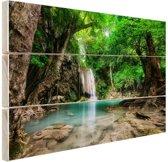 Erawan Waterval in jungle Thailand foto Hout 60x40 cm - Foto print op Hout (Wanddecoratie)