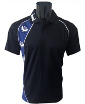 KWD Poloshirt Pronto korte mouw - Zwart/kobaltblauw - Maat S