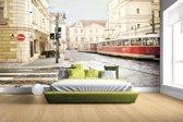 Fotobehang vinyl - Tram in Praag breedte 380 cm x hoogte 265 cm - Foto print op behang (in 7 formaten beschikbaar)