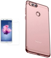 Teleplus Huawei P Smart Luxury Laser Silicone Case Rose Gold + Nano Screen Protector hoesje
