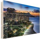 De zon komt op achter Diamond Head in het Amerikaanse Hawaï Vurenhout met planken 90x60 cm - Foto print op Hout (Wanddecoratie)